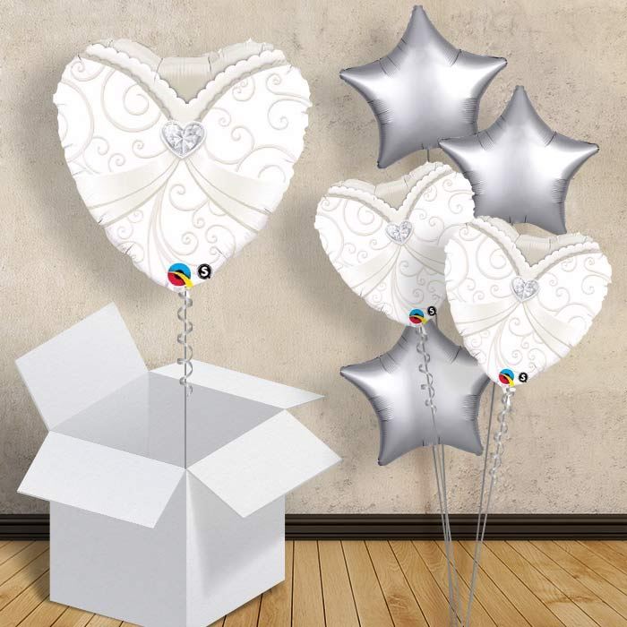 "Wedding | Bride Gown Heart 18"" Balloon in a Box"