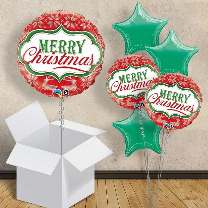 "Merry Christmas Red Nordic 18"" Balloon in a Box"