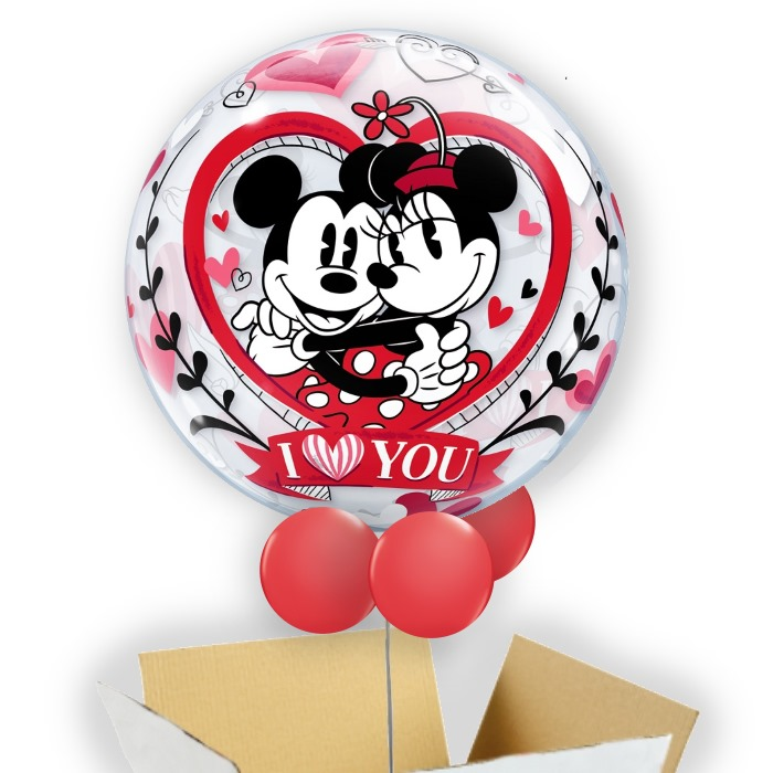 "Disney Mickey and Minnie Mouse I Love You 22"" Bubble Balloon in a Box"