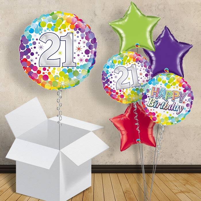 Rainbow Confetti 21st Birthday 18 Balloon In A Box