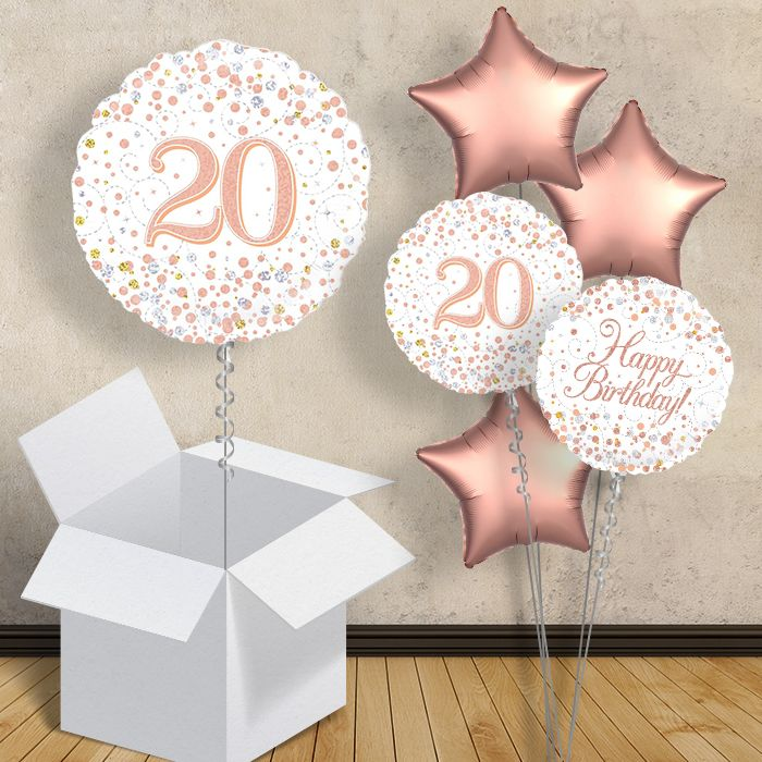 "Rose Gold and White 20th Birthday 18"" Balloon in a Box"