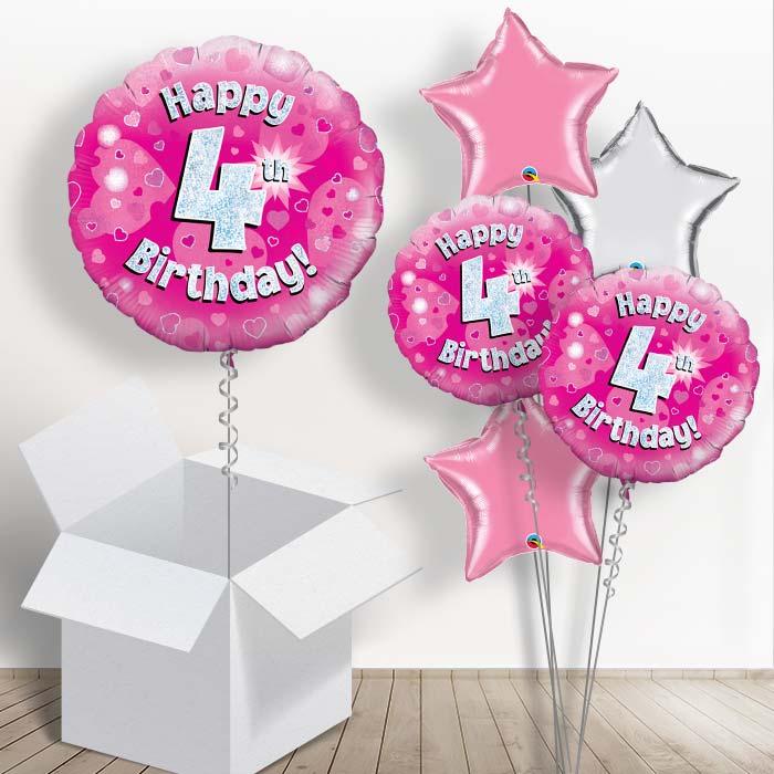 Happy 4th Birthday Pink Hearts 1834 Balloon