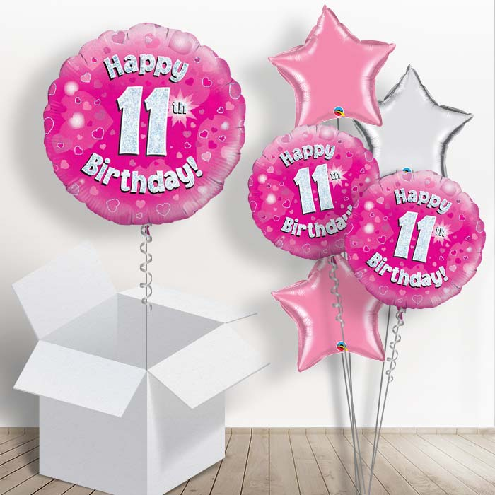 Happy 11th Birthday Pink Hearts 18 Balloon In A Box