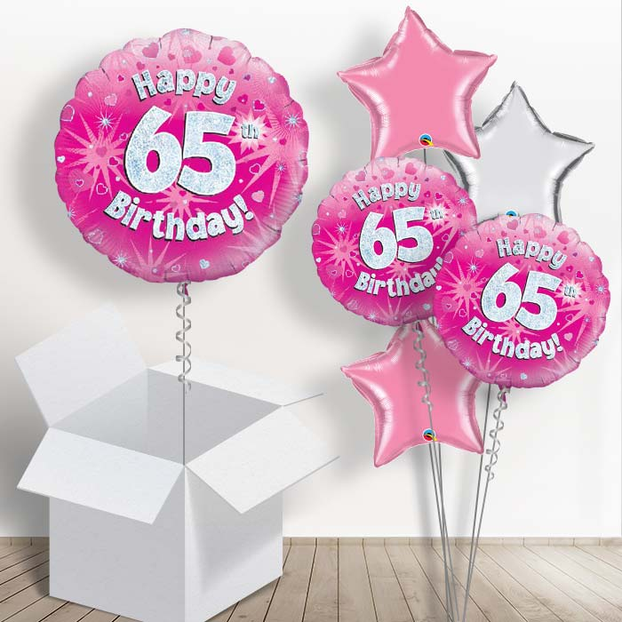 Happy 65th Birthday Pink Hearts 18 Balloon In A Box