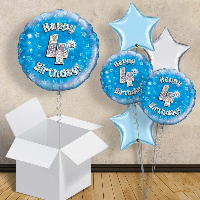 Happy 4th Birthday Blue Stars 18 Balloon In A Box