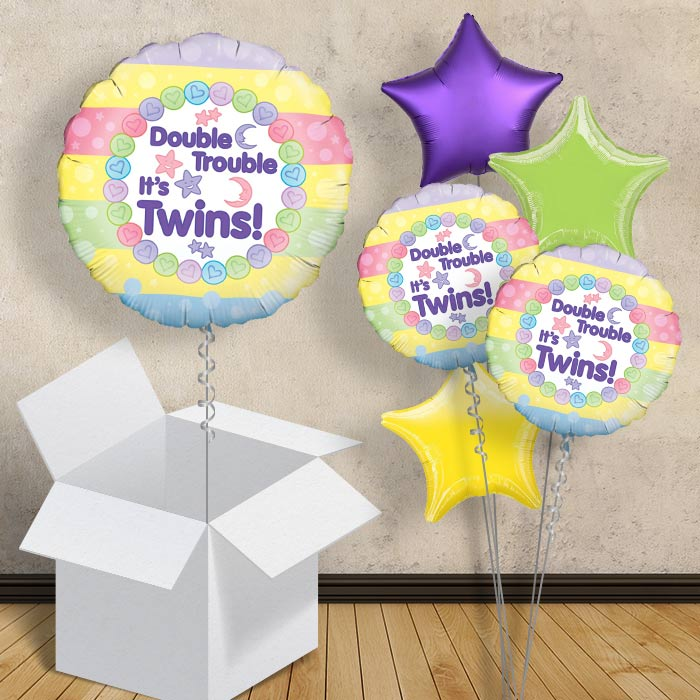 "Double Trouble Its Twins | Baby Shower 18"" Balloon in a Box"