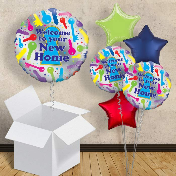Personalised Message! Welcome to Your New Home Balloon in a Box Gift Delivered