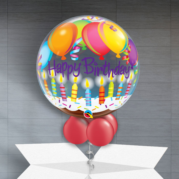 Happy Birthday Balloons And Candles 22 Bubble Balloon In A Box