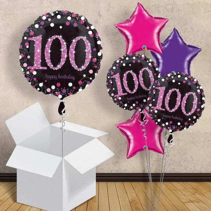 Pink Sparkle Happy 100th Birthday 1834 Balloon