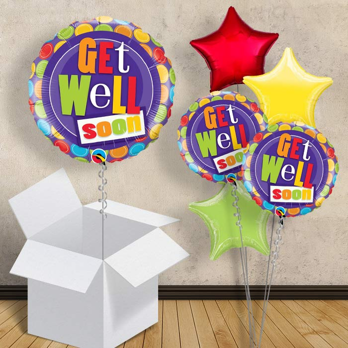 "Get Well Soon Multi-Coloured Dots 18"" Balloon in a Box"