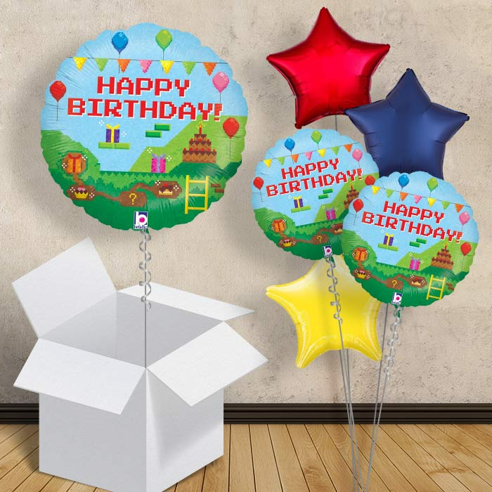 "Retro Game Pixel Happy Birthday 18"" Balloon in a Box"