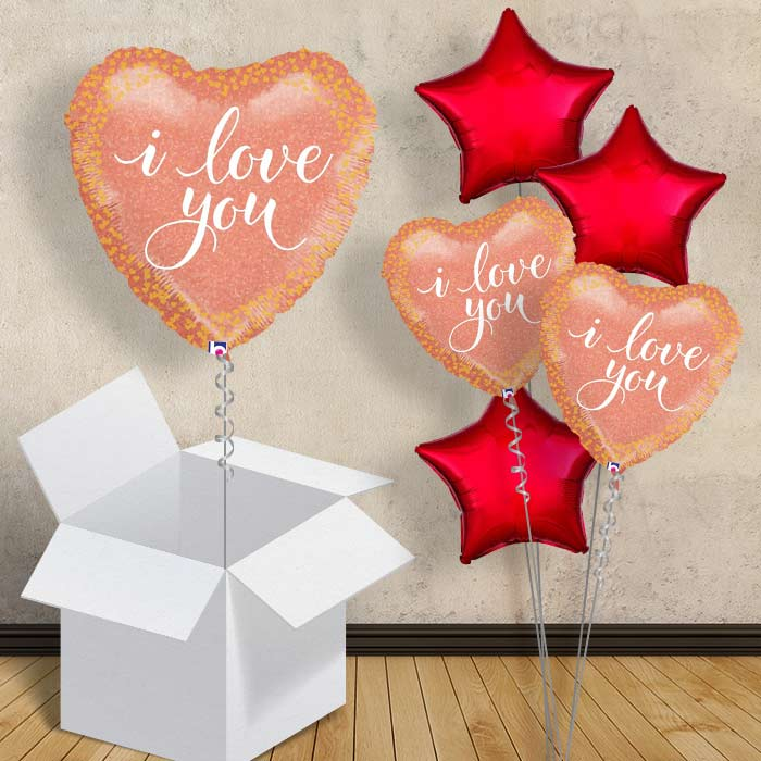 "Rose Gold I Love You Heart 18"" Balloon in a Box"