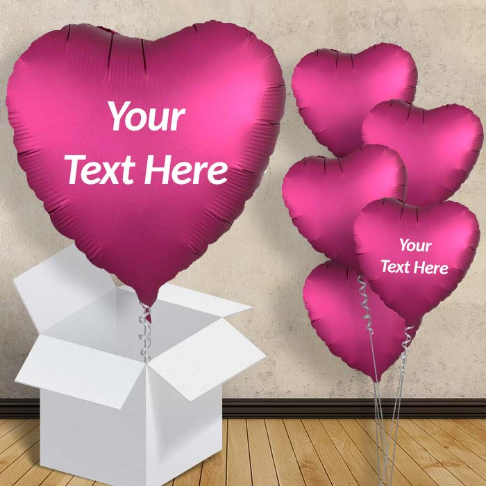 "Personalisable Pomegranate Pink Heart Satin Luxe 18"" Balloon in a Box"