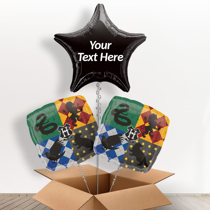 Personalisable Inflated Harry Potter | Hogwarts 3 Balloon Bouquet in a Box Gift