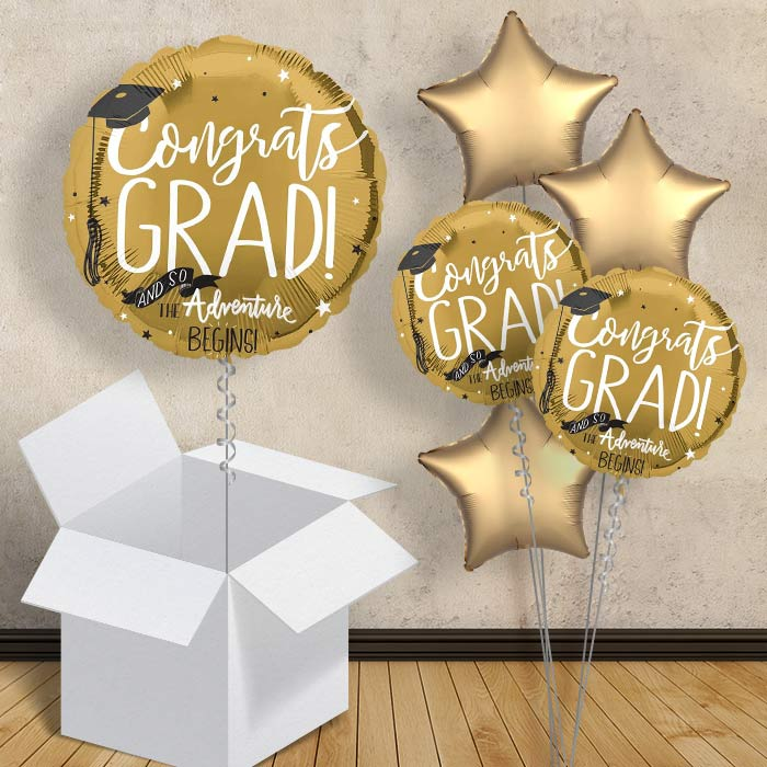 "Congrats Grad Gold Inflated 18"" Foil Balloon in a Box"