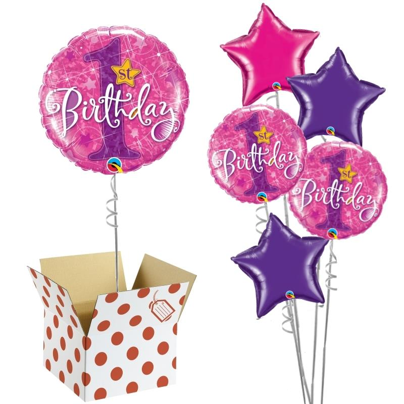 "Pink Shimmer 1st Birthday 18"" Balloon in a Box"