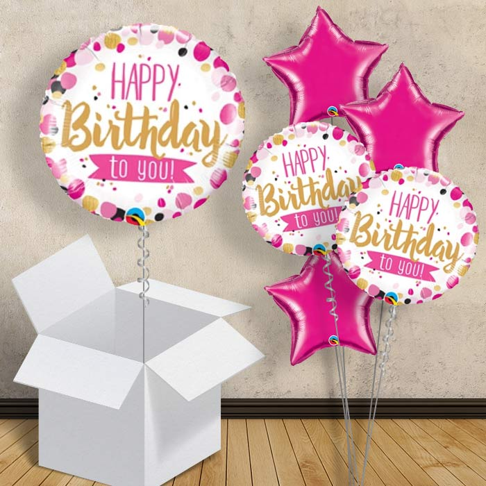 "Pink and Gold Dot Happy Birthday to You 18"" Balloon in a Box"