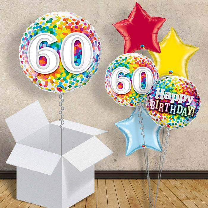 "Colourful Confetti 60th Birthday 18"" Balloon in a Box"