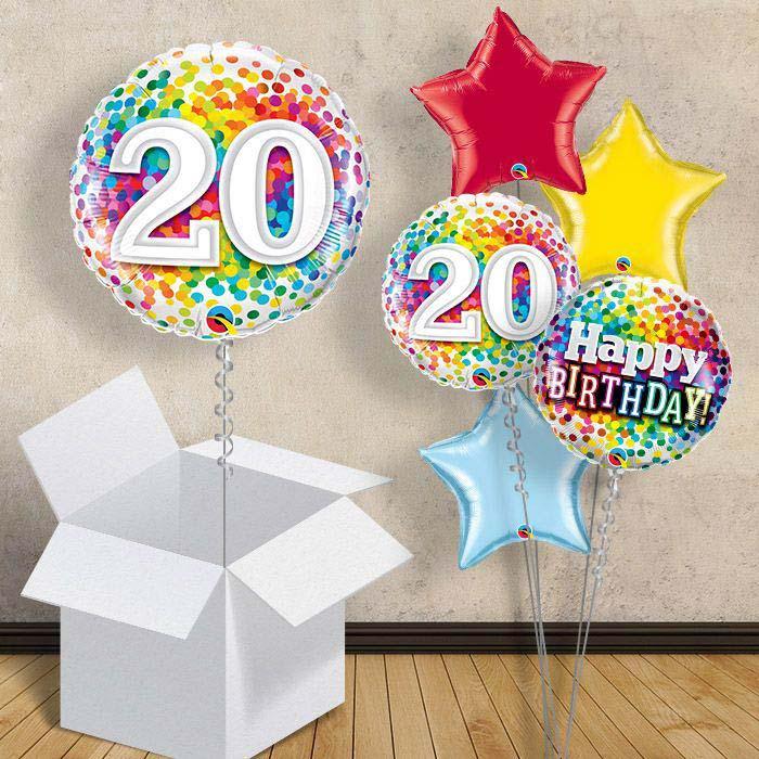 Colourful Confetti 20th Birthday 18 Balloon In A Box