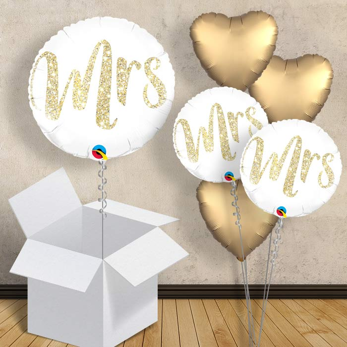 "Mrs Gold Glitter | Wedding 18"" Balloon in a Box"