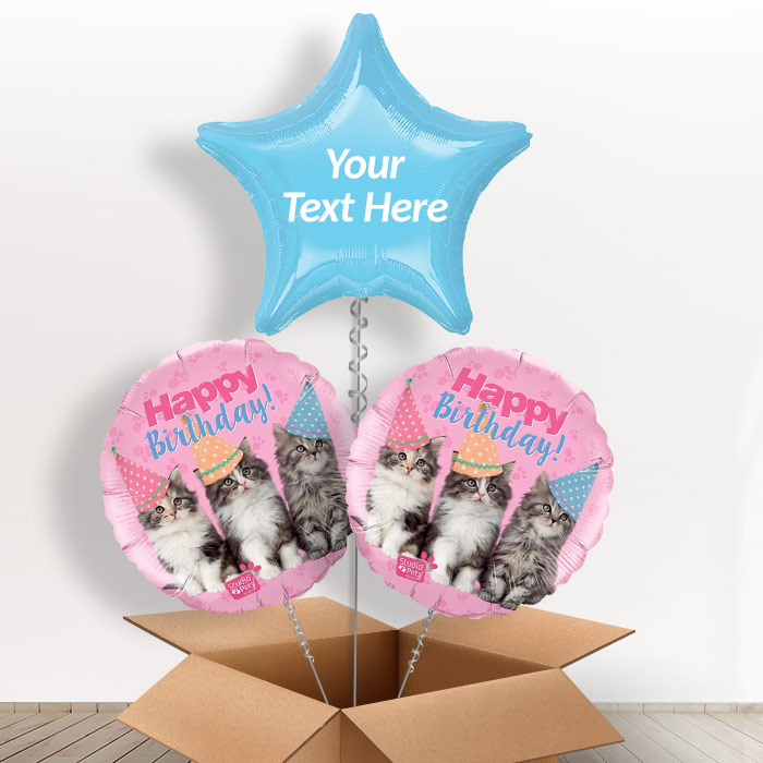 Personalisable Inflated Kittens | Cats Happy Birthday 3 Balloon Bouquet in a Box Gift