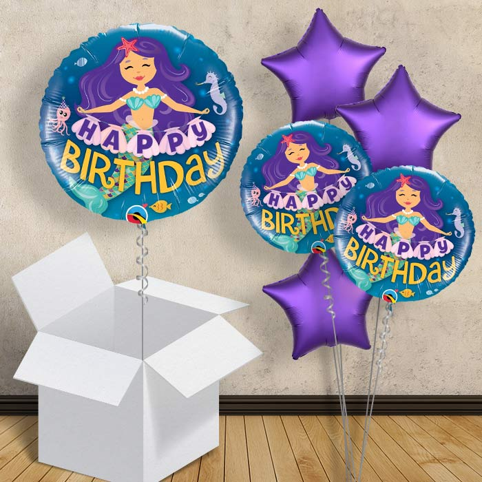 "Mermaid Happy Birthday 18"" Balloon in a Box"