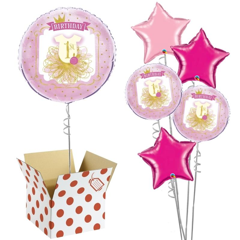 "Pink and Gold Girls 1st Birthday 18"" Balloon in a Box"
