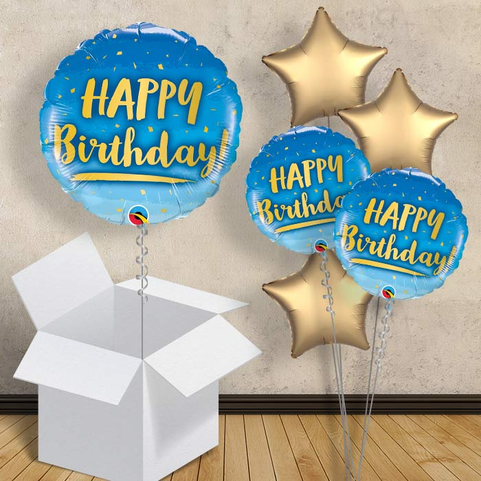 "Happy Birthday Blue and Gold 18"" Balloon in a Box"