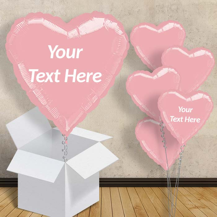 "Personalisable Pastel Pink Metallic Heart 18"" Balloon in a Box"