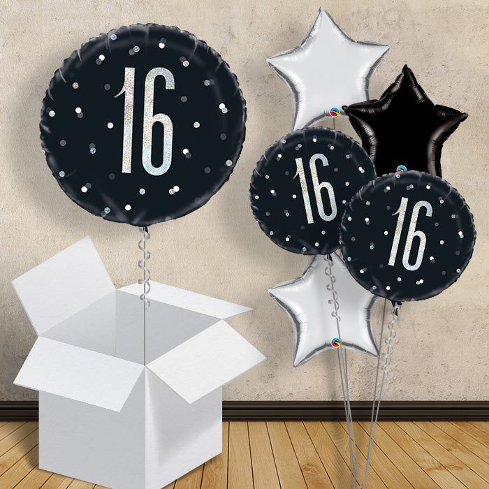 "Black and Silver Holographic 16th Birthday 18"" Balloon in a Box"