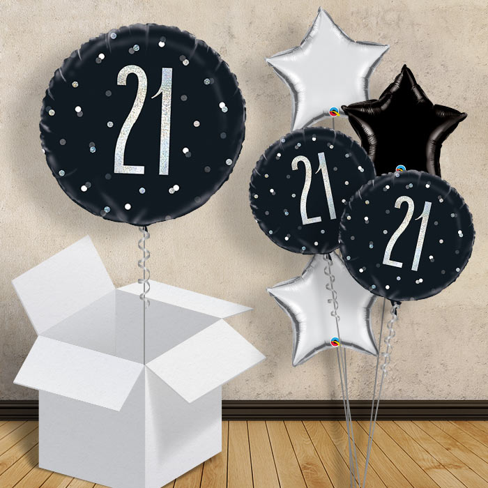 "Black and Silver Holographic 21st Birthday 18"" Balloon in a Box"