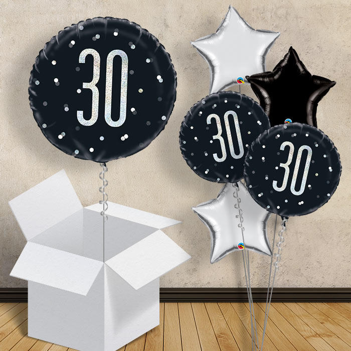 "Black and Silver Holographic 30th Birthday 18"" Balloon in a Box"
