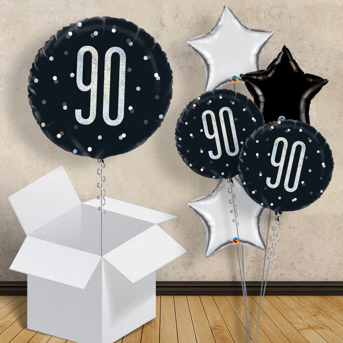 "Black and Silver Holographic 90th Birthday 18"" Balloon in a Box"