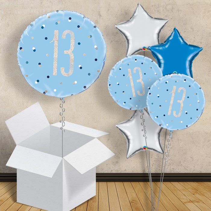 "Blue and Silver Holographic 13th Birthday 18"" Balloon in a Box"
