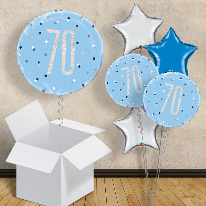 "Blue and Silver Holographic 70th Birthday 18"" Balloon in a Box"