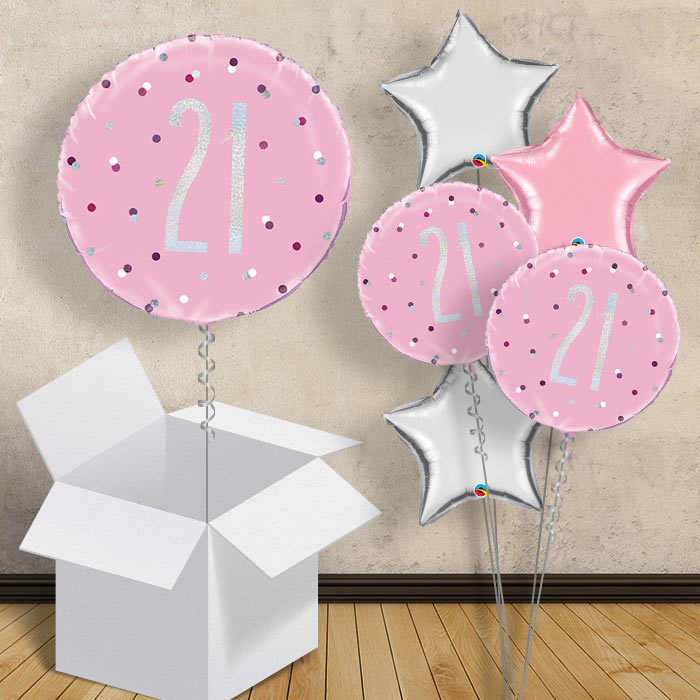 "Pink and Silver Holographic 21st Birthday 18"" Balloon in a Box"