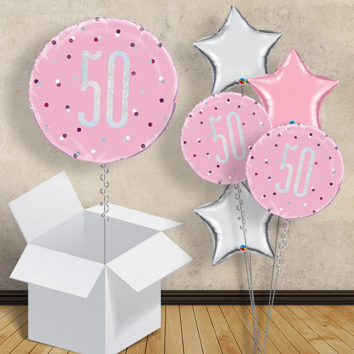 "Pink and Silver Holographic 50th Birthday 18"" Balloon in a Box"