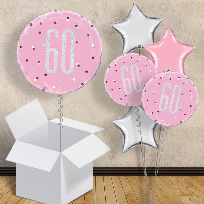 "Pink and Silver Holographic 60th Birthday 18"" Balloon in a Box"