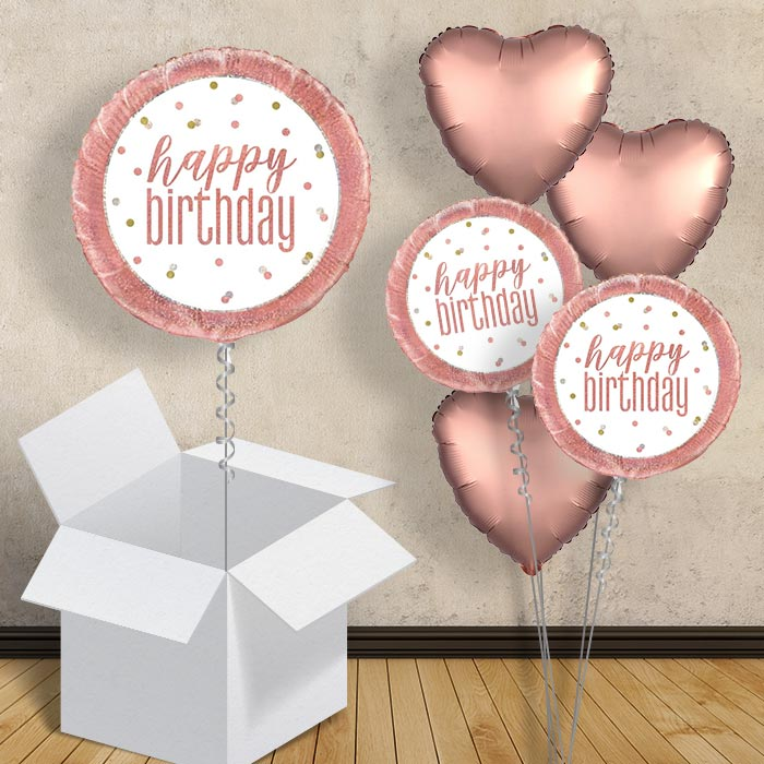 "Rose Gold Holographic Happy Birthday 18"" Balloon in a Box"