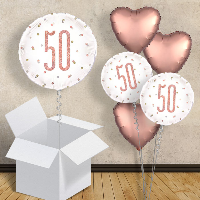 "Rose Gold Holographic 50th Birthday 18"" Balloon in a Box"
