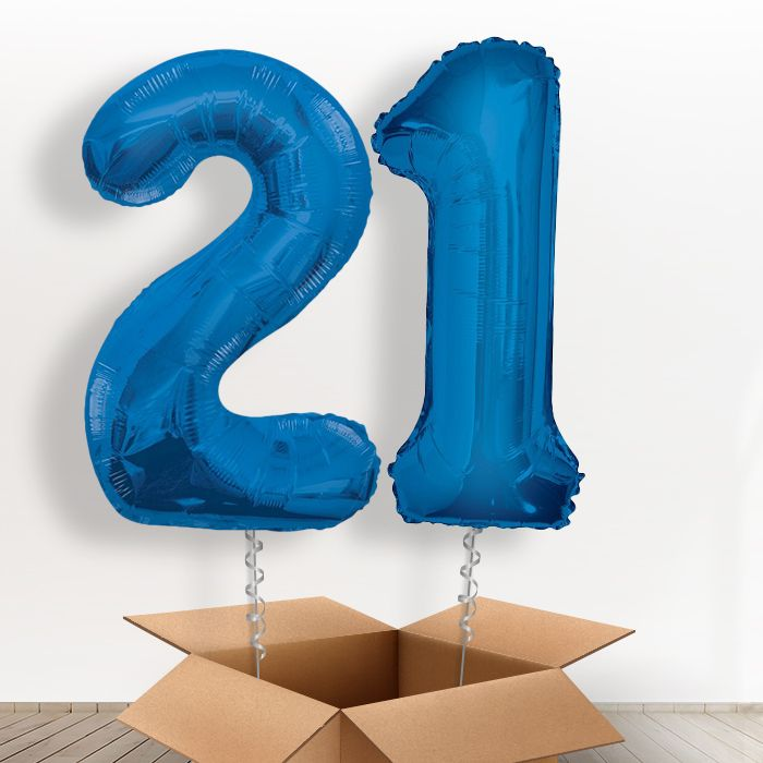 Blue Giant Numbers 21st Birthday Balloon in a Box Gift