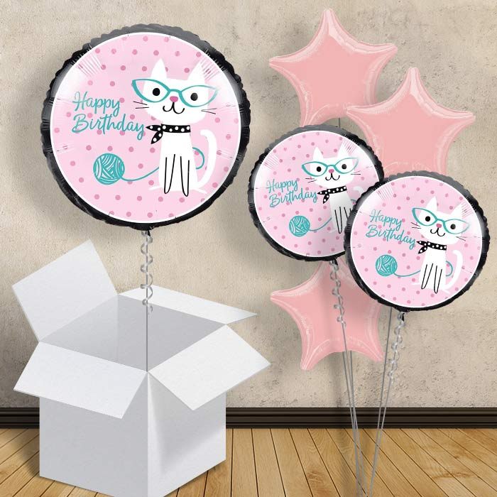 "Purrfect Cat Happy Birthday 18"" Balloon in a Box"