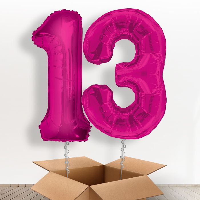 Pink Giant Numbers 13th Birthday Balloon In A Box Gift