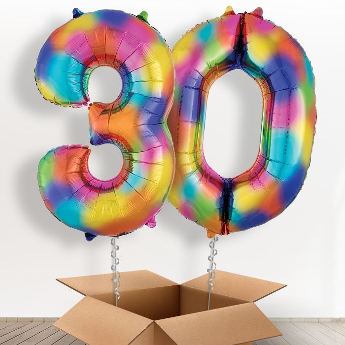 Rainbow Coloured Splash Giant Numbers 30th Birthday Balloon in a Box Gift