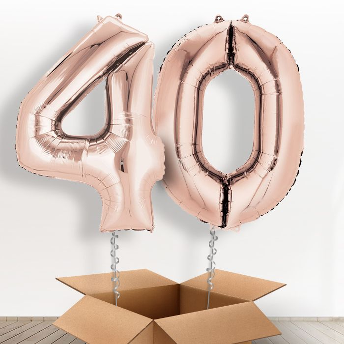 35783255874 Rose Gold Giant Numbers 40th Birthday Balloon in a Box Gift