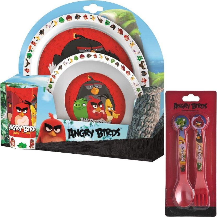 Angry Birds PP Mealtime Tumbler, Bowl, Plate and Cutlery Kit