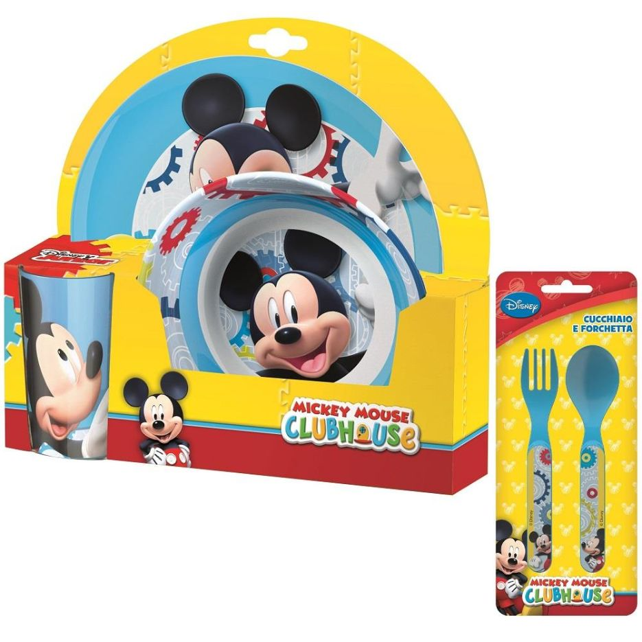 Mickey Mouse Mealtime Tumbler, Bowl, Plate and Cutlery Kit