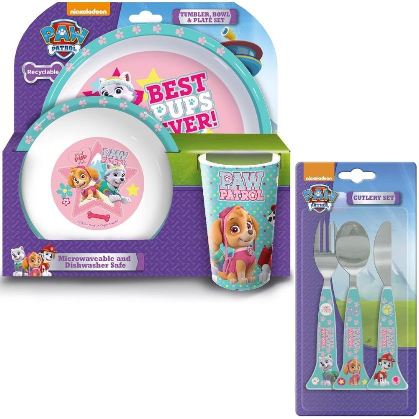 Paw Patrol Pink Mealtime Tumbler, Bowl, Plate and Cutlery Kit