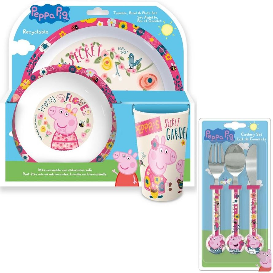 Peppa Pig Back to Nature Mealtime Tumbler, Bowl, Plate and Cutlery Kit
