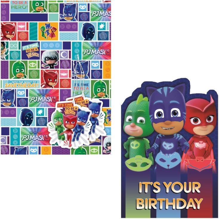 PJ Masks Giftwrap Gift Tags And Birthday Card